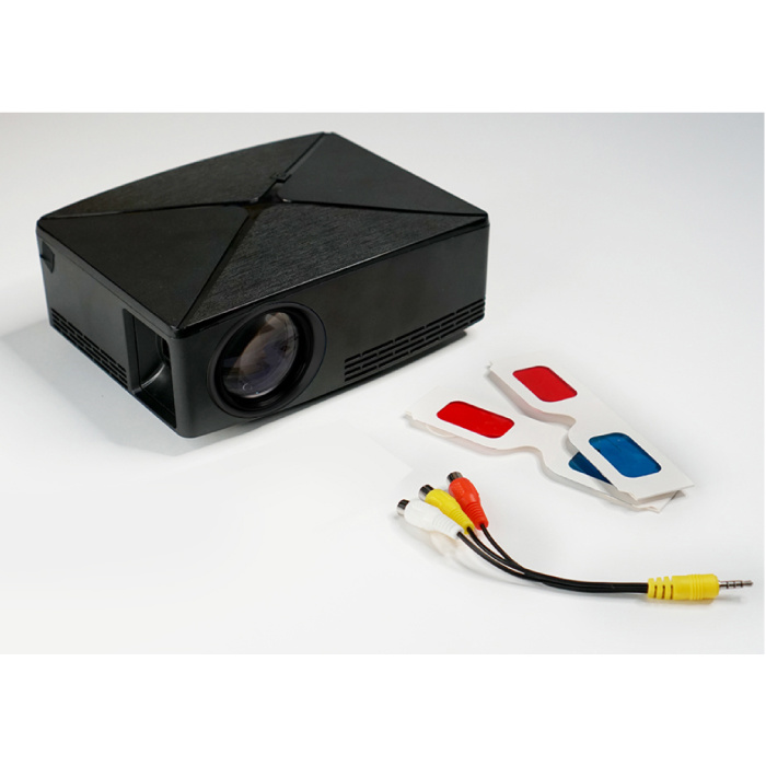 AUN C80 LED Projector - Mini Beamer Home Media Speler Zwart