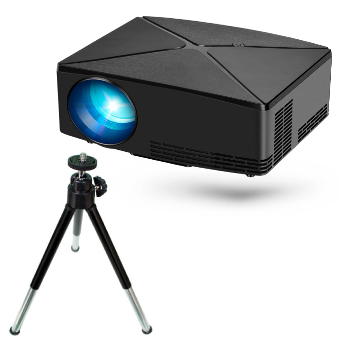 C80 LED Projector & Tripod - Mini Beamer Home Media Player Black