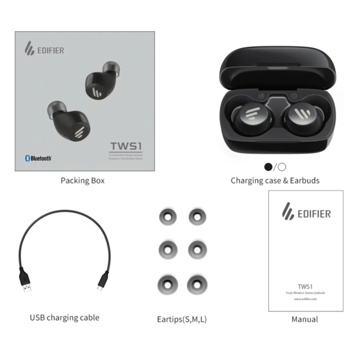Edifier TWS1 Draadloze Smart Touch Control Oortjes Bluetooth 5.0 Ear Wireless Buds Earphones Earbuds Oortelefoon 500mAh Zwart