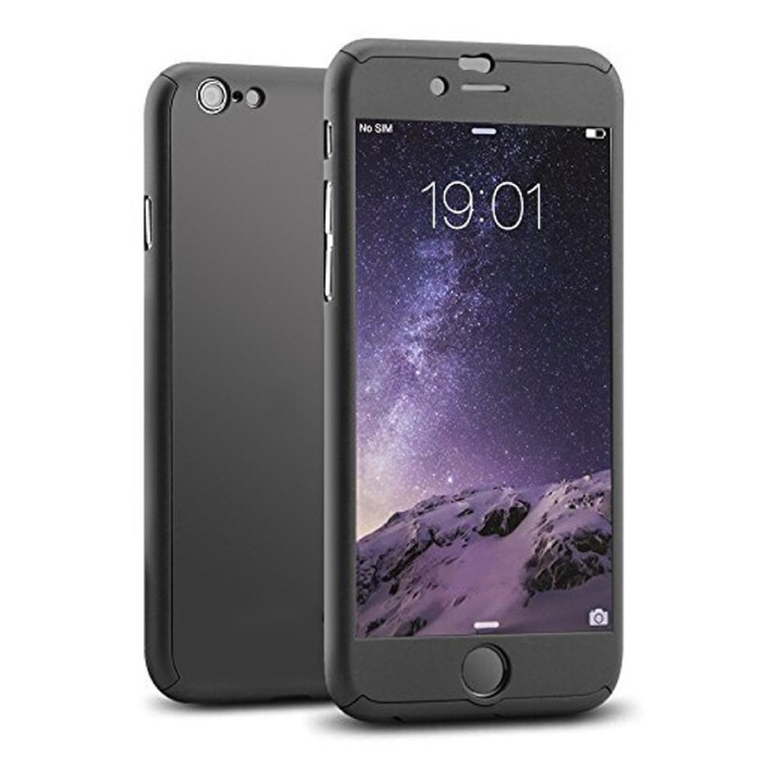 iPhone 7 Full Body 360 ° Full Cover Hülle + Displayschutzfolie Schwarz