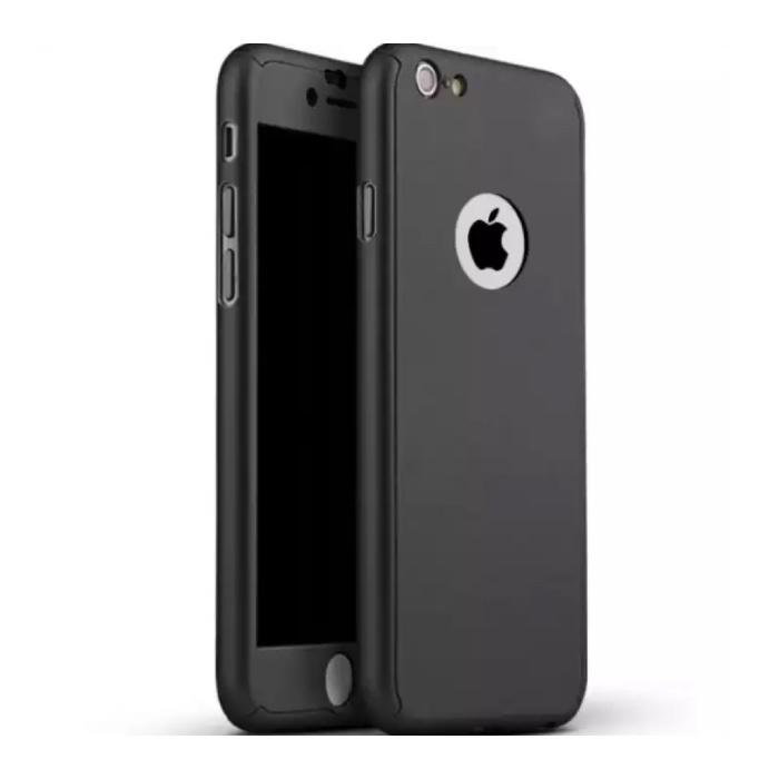 iPhone 8 Plus Ganzkörper 360 ° Full Cover Hülle + Displayschutzfolie Schwarz