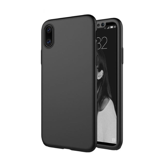 iPhone XS 360 Full Body Cover Case + Screen Protector Noir