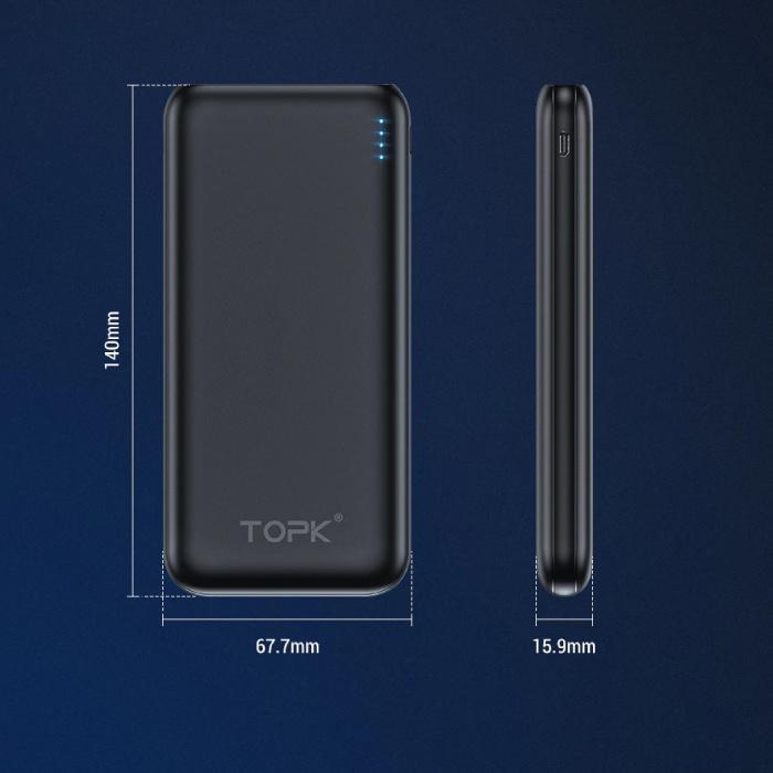 TOPK 10.000mAh Alimentation externe Banque Chargeur de batterie de secours