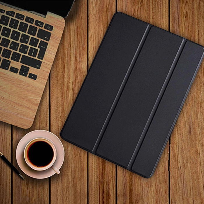 iPad 3 Leather Foldable Cover Case Case Black