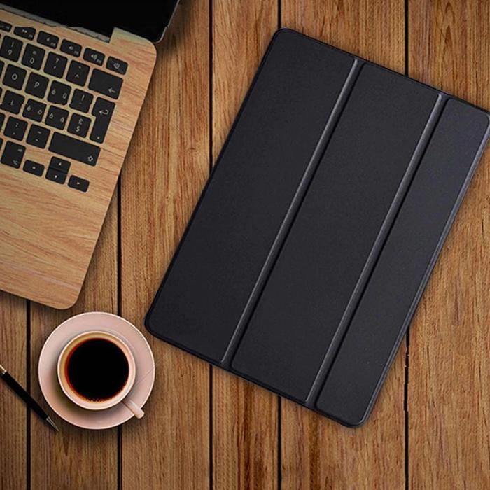 iPad 4  Leren Vouwbare Cover Hoesje Case Zwart