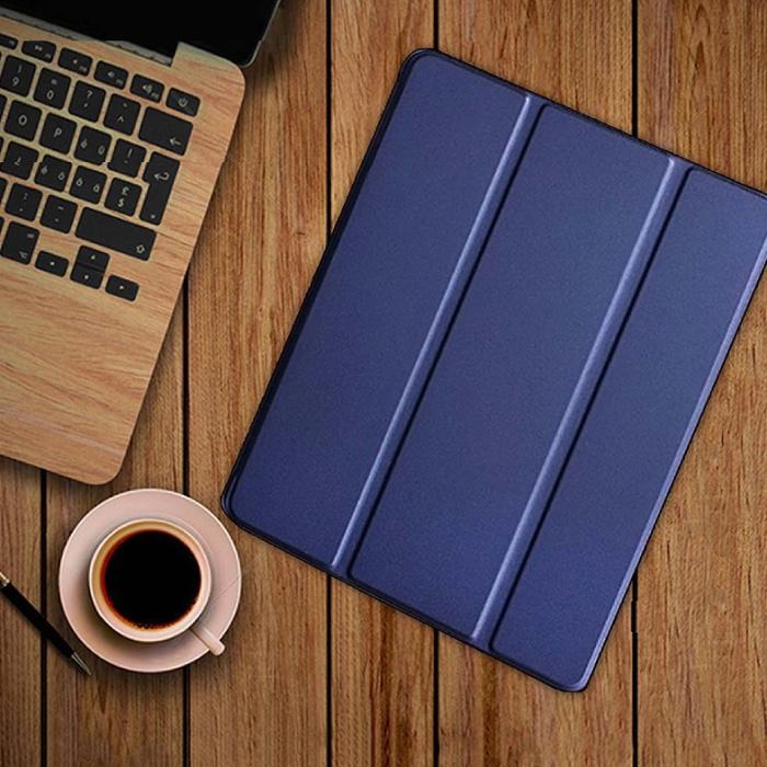 iPad 4  Leren Vouwbare Cover Hoesje Case Blauw
