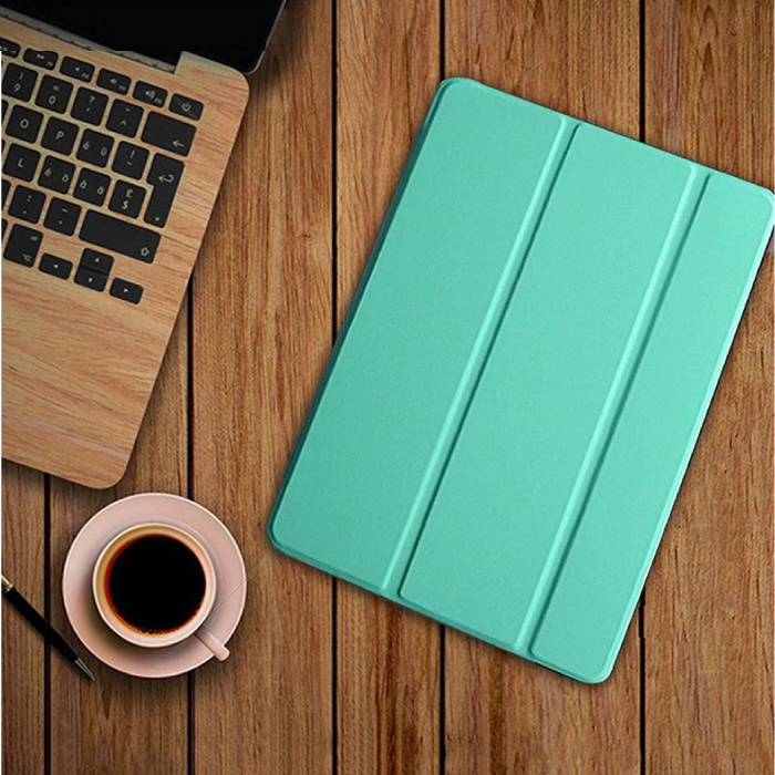 iPad 4 Leather Foldable Cover Case Green