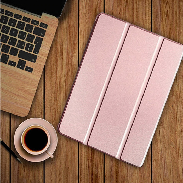 iPad 4  Leren Vouwbare Cover Hoesje Case Roze