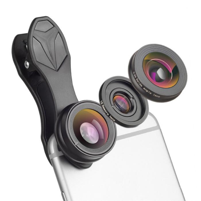 3 in 1 Camera Lens Clip voor Smartphones Zwart - Fisheye/Wide Angle/Macro Lens