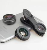 APEXEL 3 in 1 Camera Lens Clip voor Smartphones Zwart - Fisheye/Wide Angle/Macro Lens