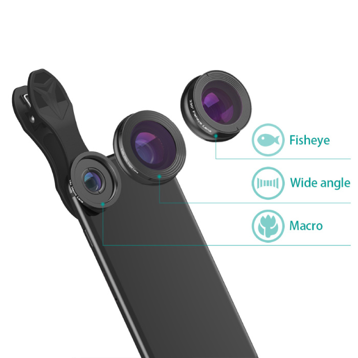 APEXEL 3 in 1 Camera Lens Clip voor Smartphones Roze - Fisheye/Wide Angle/Macro Lens
