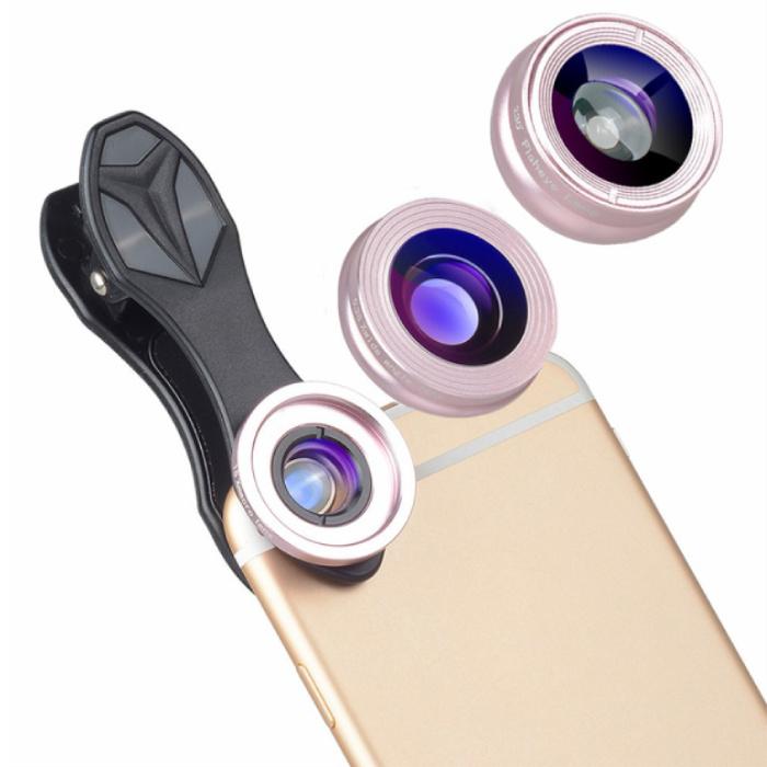 3 in 1 Camera Lens Clip voor Smartphones Roze - Fisheye/Wide Angle/Macro Lens