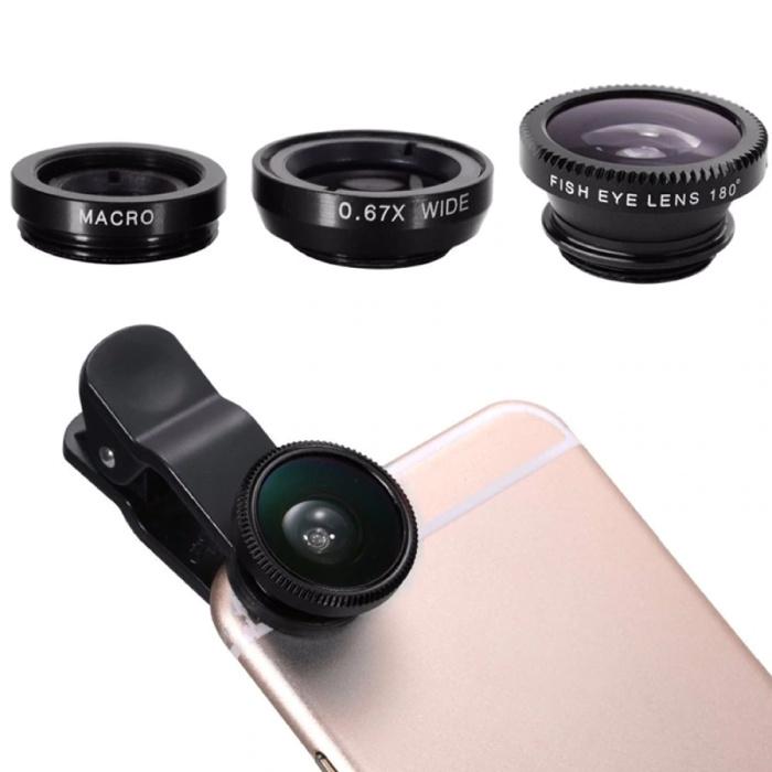 Stuff Certified® 3 in 1 Universele Camera Lens Clip voor Smartphones Zwart - Fisheye/Wide Angle/Macro Lens