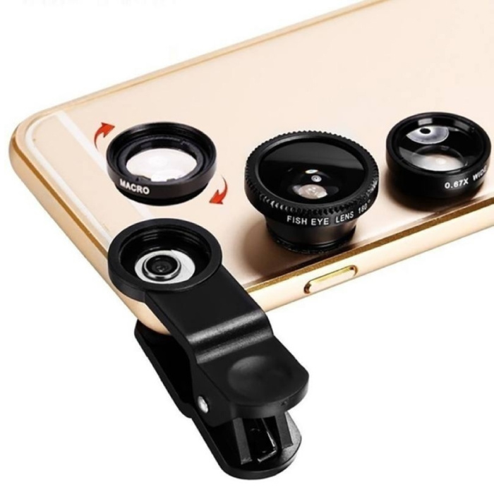 Stuff Certified® 3 en 1 Appareil photo universel Clip objectif pour les téléphones intelligents Noir - Fisheye / Grand angle / macro objectif