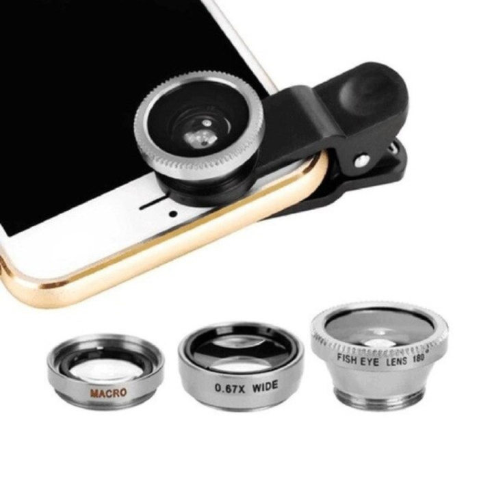 3-in-1-Universal-Kameraobjektivclip für Smartphones Silber - Fischaugen- / Weitwinkel- / Makroobjektiv