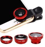 Stuff Certified® 3 in 1 Universele Camera Lens Clip voor Smartphones Rood - Fisheye/Wide Angle/Macro Lens