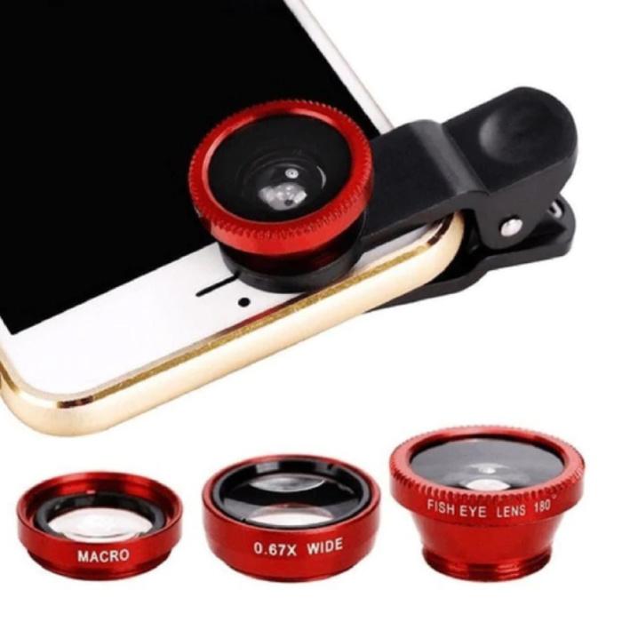 3-in-1-Universal-Kameraobjektivclip für Smartphones Rot - Fischaugen- / Weitwinkel- / Makroobjektiv