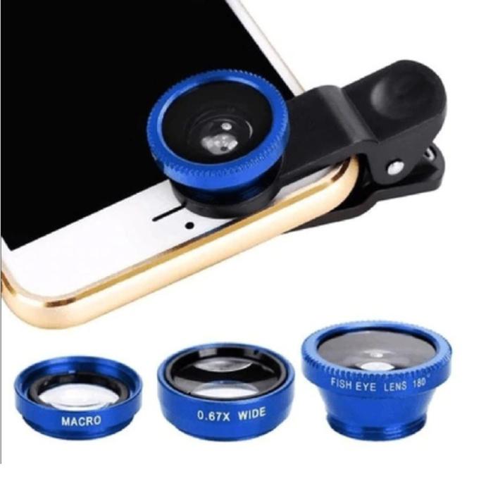 3-in-1-Universal-Kameraobjektivclip für Smartphones Blau - Fischaugen- / Weitwinkel- / Makroobjektiv