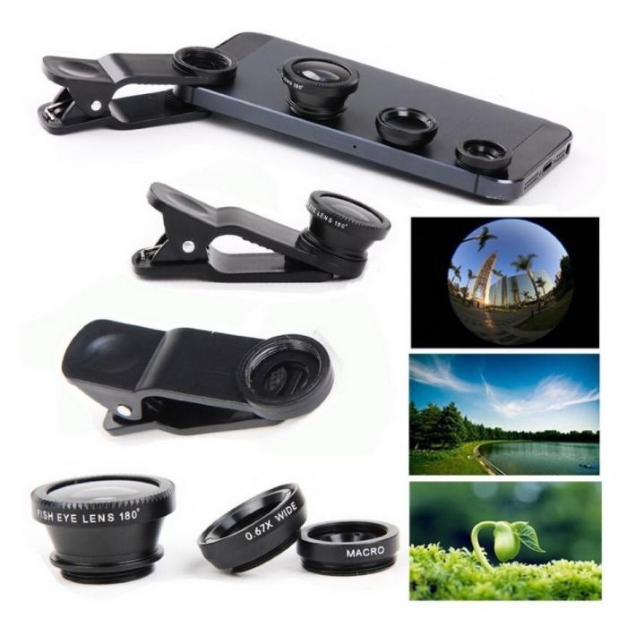 Stuff Certified® 3 in 1 Universele Camera Lens Clip voor Smartphones Goud - Fisheye/Wide Angle/Macro Lens
