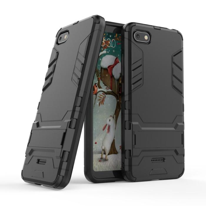 iPhone SE (2020) - Robotic Armor Case Cover Cas TPU Hoesje Zwart + Kickstand