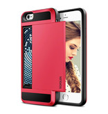 VOFOLEN iPhone SE (2020) - Wallet Card Slot Cover Case Business Red