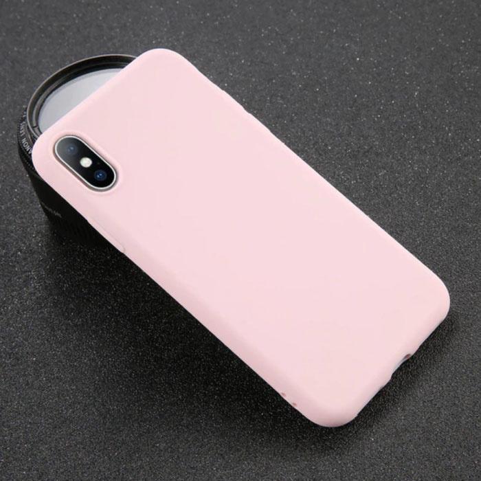 USLION iPhone SE (2020) Ultra Slim Etui en silicone TPU rose couverture