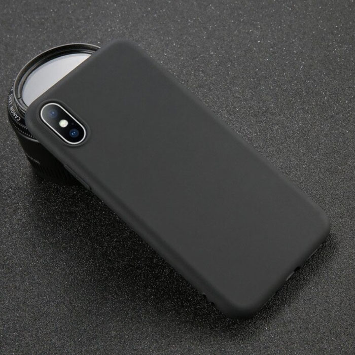 USLION Ultraslim iPhone SE (2020) Silicone Hoesje TPU Case Cover Zwart