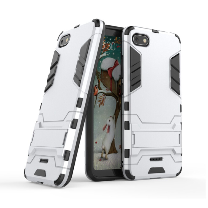 iPhone SE (2020) - Robotic Armor Case Cover Cas TPU Case White + Kickstand
