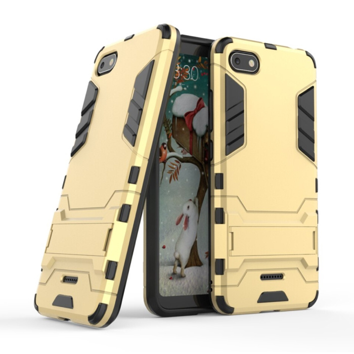 HATOLY iPhone SE (2020) - Robotic Armor Case Cover Cas TPU Case Gold + Kickstand