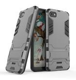 HATOLY iPhone SE (2020) - Robotic Armor Case Cover Cas TPU Hoesje Grijs + Kickstand