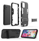 HATOLY iPhone SE (2020) - Robotic Armor Case Cover Cas TPU Case Blue + Kickstand