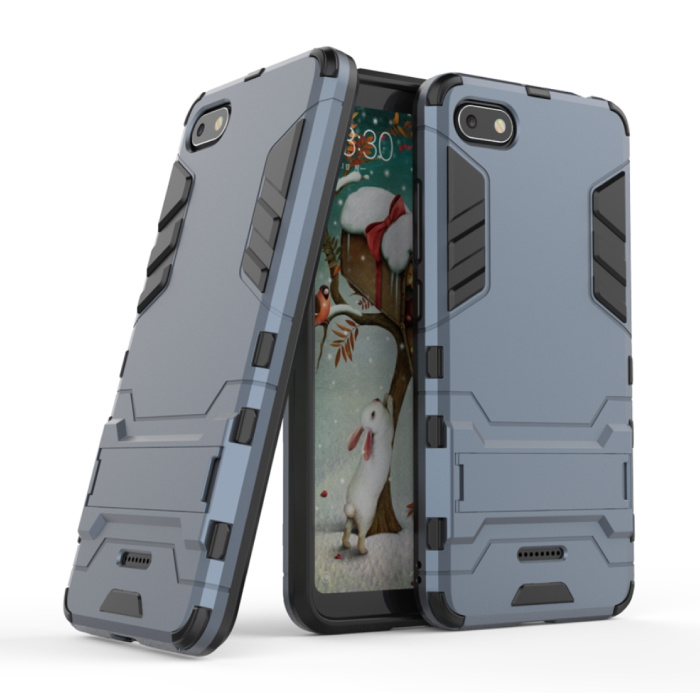 HATOLY iPhone SE (2020) - Robotic Armor Case Cover Cas TPU Hoesje Navy + Kickstand