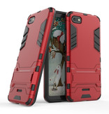 HATOLY iPhone SE (2020) - Robotic Armor Case Cover Cas TPU Hoesje Rood + Kickstand