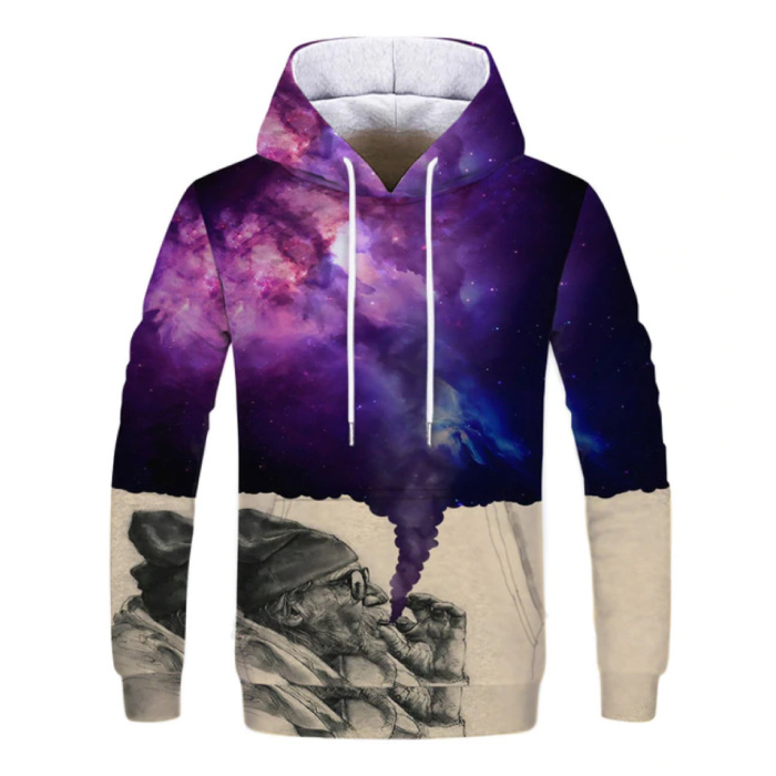 Stuff Certified® Hoodie Sweater Pullover with Hood (Small) - Universe Print
