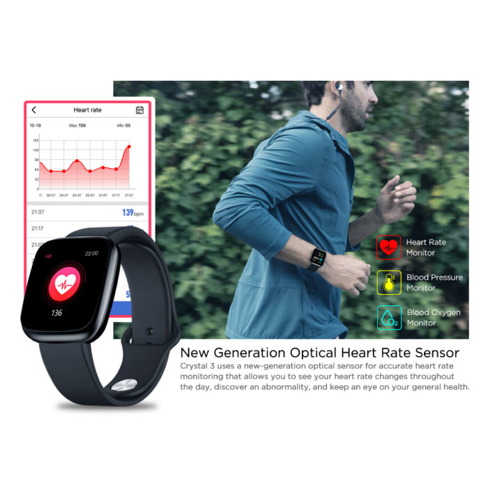 Zeblaze Crystal 3 Smartwatch Smartband Smartphone Fitness Sport Activity Tracker Horloge IPS iOS Android iPhone Samsung Huawei Rood
