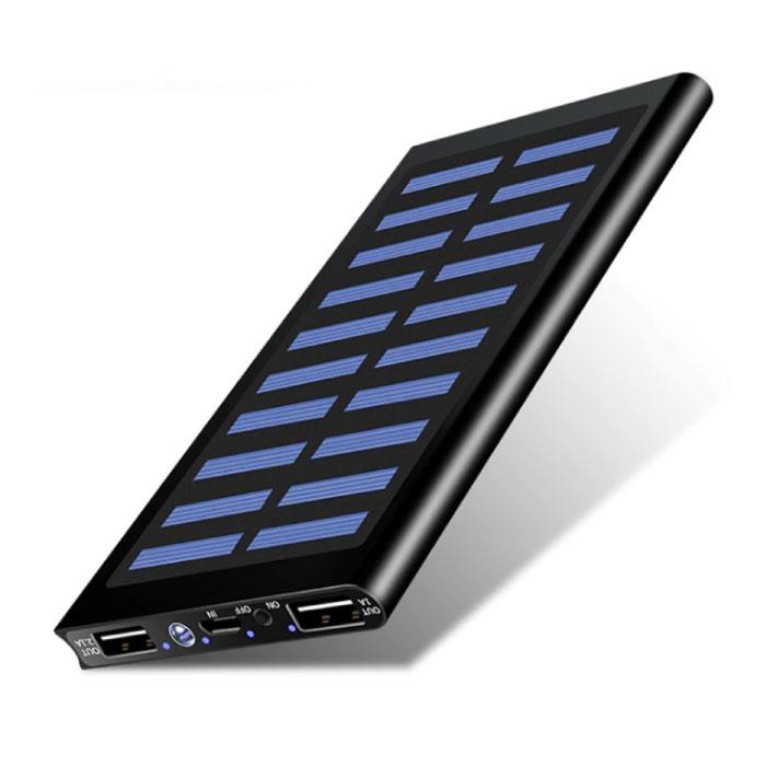 Externes 30.000mAh Solarladegerät Powerbank Solarpanel Notfallbatterie Batterieladegerät Schwarz