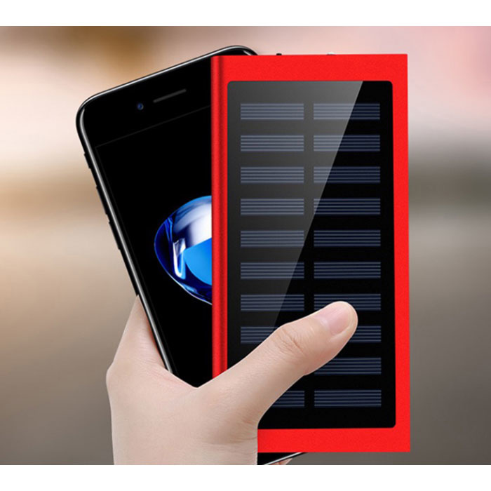 External 30,000mAh Solar Charger Power Bank Solar Panel Emergency Battery Battery Charger Red
