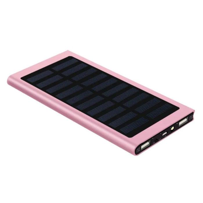 Externe 30.000mAh Solar Charger Powerbank Zonnepaneel Noodaccu Batterij Oplader Roze