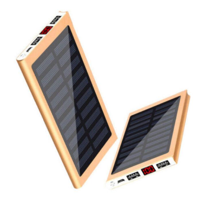 Externes 30.000mAh Solarladegerät Powerbank Solarpanel Notbatterie Batterieladegerät Gold