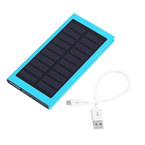 External 30,000mAh Solar Charger Power Bank Solar Panel Emergency Battery Battery Charger Blue