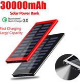Stuff Certified® Externe 30.000mAh Solar Charger Powerbank Zonnepaneel Noodaccu Batterij Oplader Rood