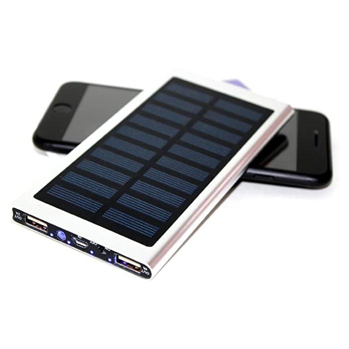 Chargeur solaire externe 30.000mAh Banque d'alimentation d'urgence de batterie solaire Chargeur de batterie Argent