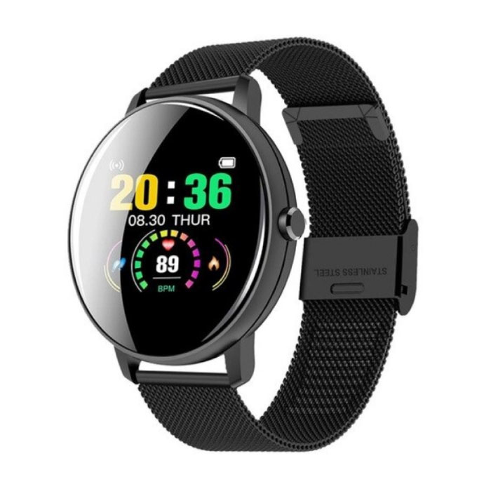 Q5 Sport Plus SmartWatch Fitness Sports Tracker Activité Smartphone Regarder iOS iPhone Android Samsung Huawei Black Metal