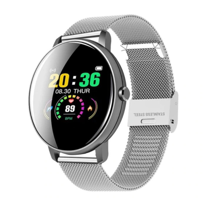 Q5 Plus Sports Smartwatch Fitness Sport Activity Tracker Smartphone Horloge iOS Android iPhone Samsung Huawei Zilver Metaal