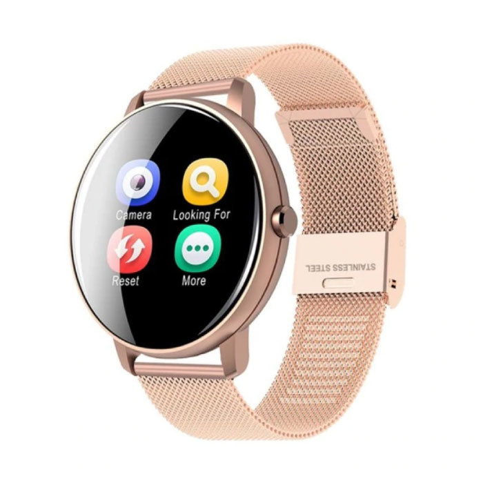 Q5 Plus Sport Smartwatch Fitness Sport Aktivität Tracker Smartphone Uhr iOS Android iPhone Samsung Huawei Roségold Metall