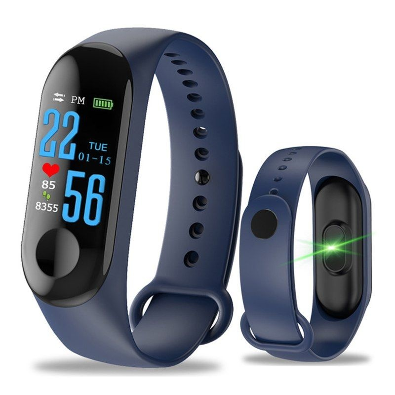 Originele M3 Smartband Fitness Sport Activity Tracker Smartwatch Smartphone Horloge OLED iOS Android iPhone Samsung Huawei Blauw