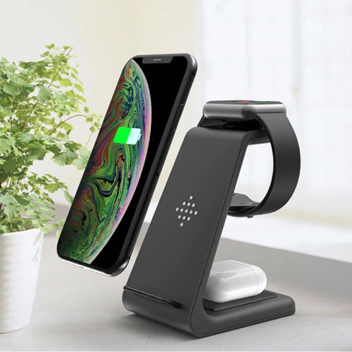 3 in 1 Oplaadstation voor Apple iPhone / iWatch / AirPods -  Charging Dock 18W Wireless Pad Zwart