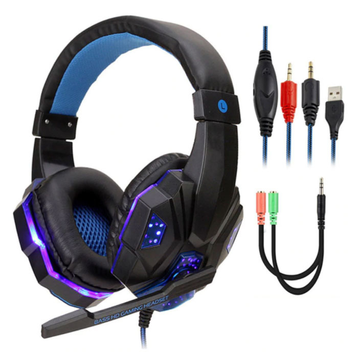 Bass HD Gaming Headset Stereo Headphones Headphones with Microphone PlayStation 4 / PC Blue