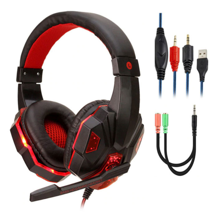 Bass HD Gaming Headset Stereo Headphones Headphones with Microphone PlayStation 4 / PC Red