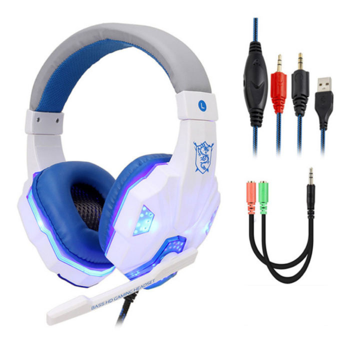 Bass HD Gaming Headset Stereo Headphones Headphones with Microphone PlayStation 4 / PC White